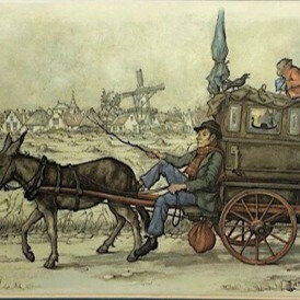 Anton Pieck Vintage Framed Print Donkey and Buggy