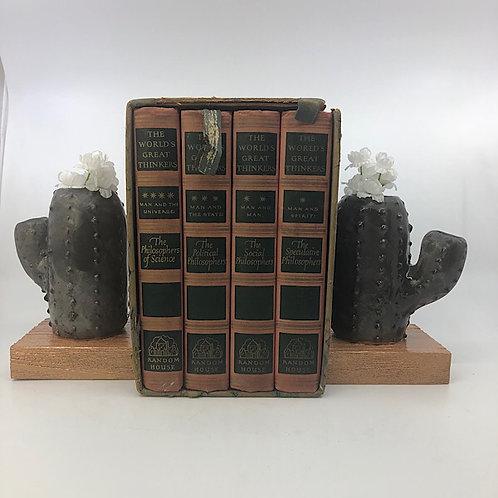 Flowering Cactus Bookends Repurposed Ceramic Sculpture