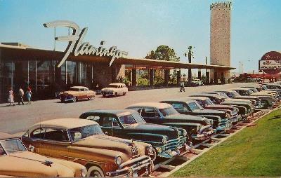 vintage postcard from Las Vegas 1954 Flamingo Resort cars lined up