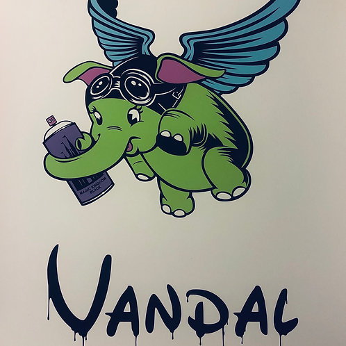 "Graffiti Art Print ""Vandal"" Winged Elephant Lowbrow Street Art"