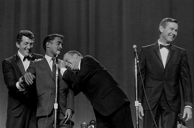 Lionel Hampton with Moulin Rouge show members, Las Vegas, 1955