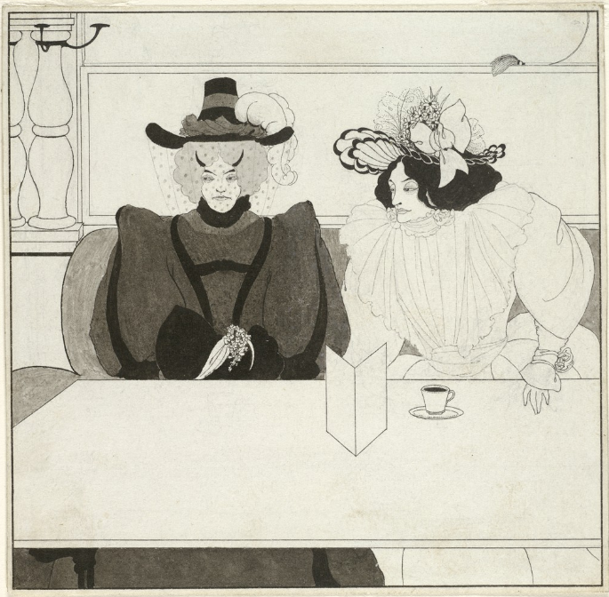 Black ink illustration of two women dressed in fancy fashion at a table with coffee