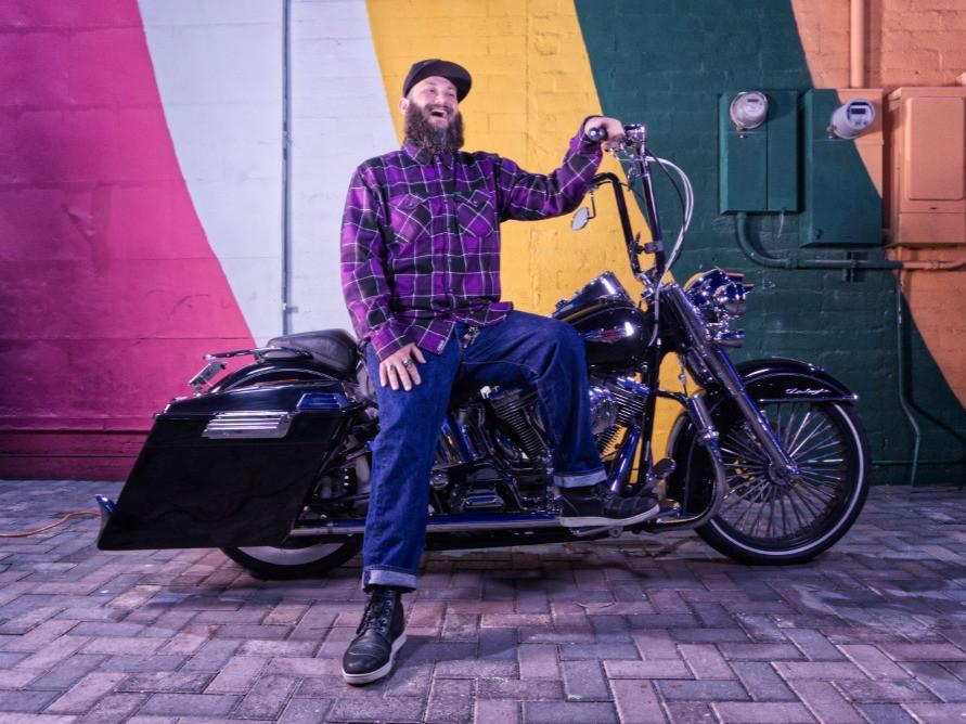 Arran Vargas on his motorcycle