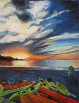 Kayaks at Sunset at LJ Shores