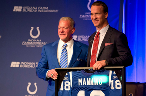 Jim Irsay and Peyton Manning at the announcement of the retiring of the No. 18 jersey