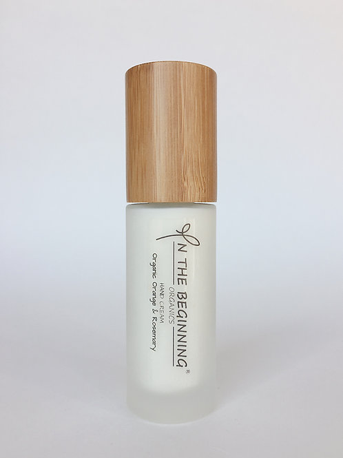 Natural/Vegan Organic Orange, Rosemary hand cream pump/lotion/moisturizer-glass-bamboo-travel size-clean-safe beauty