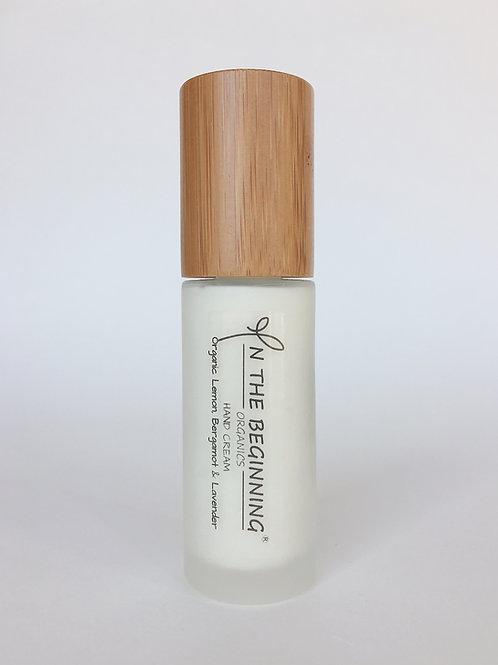 Natural/Vegan Organic Lemon, Bergamot, Lavender hand cream pump/lotion/moisturizer-glass-bamboo-travel size-clean-safe beauty