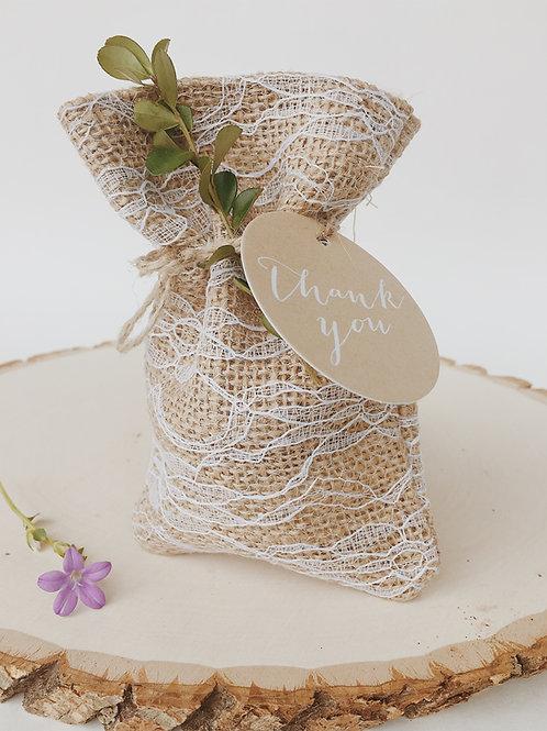 Luxurious lace burlap bag-unique-elegant-special occasion-party favor