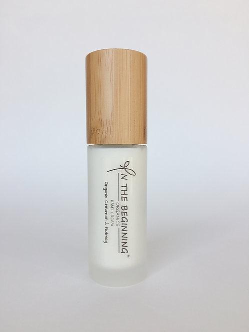 Natural/Vegan Organic Cinnamon, Nutmeg hand cream pump/lotion/moisturizer-glass-bamboo-travel size-clean-safe beauty