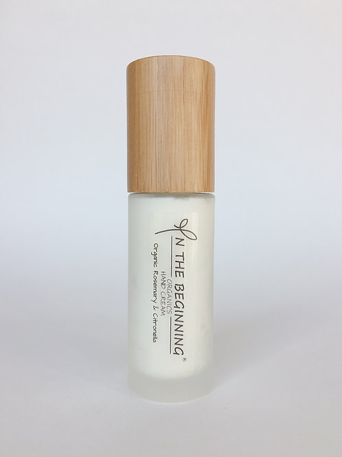 Natural/Vegan Organic Rosemary, Citronella hand cream pump/lotion/moisturizer-glass-bamboo-travel size-clean-safe beauty