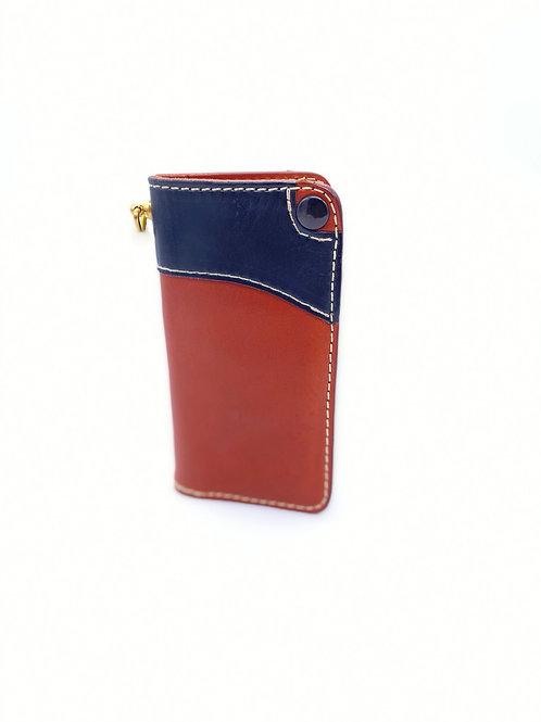 Soft Tail Wallet Orange with Dark Blue Accent