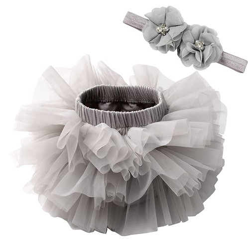Silver BABY TUTU with head band