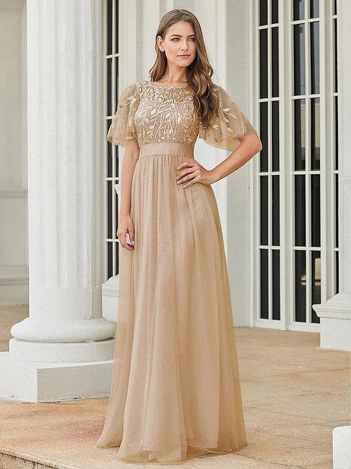 Zlaté šaty s rukávom GOLD  0904