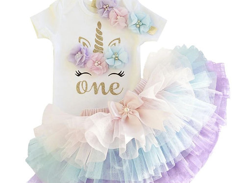 UNICORN Pastel Duha 1 Birthday SET s rohom EM