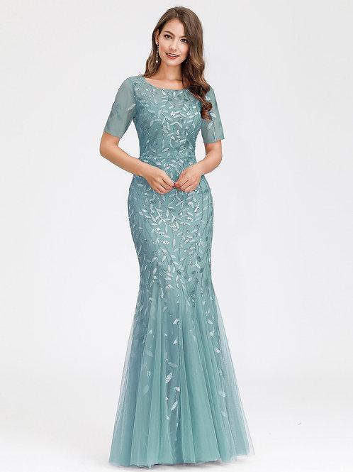 Spoločenské šaty DUSTY BLUE 7707 SKLADOM