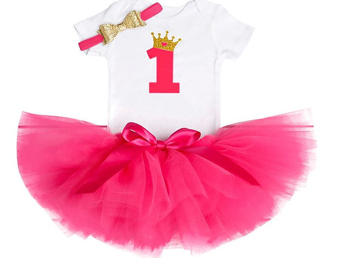 Hot Pink 1 Birthday SET so zlatou korunkou EM