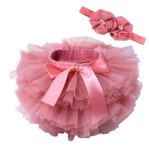 Coral BABY TUTU with head band