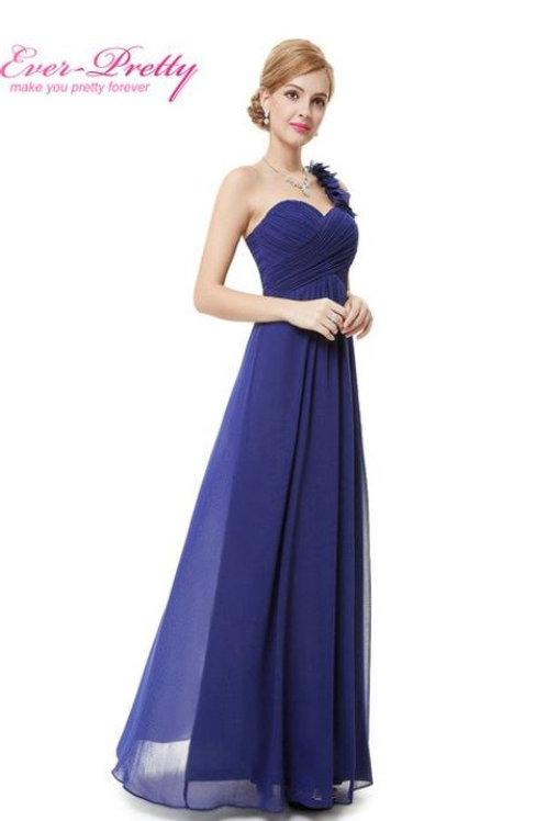 Modré šaty na jedno rameno 9766 SKLADOM