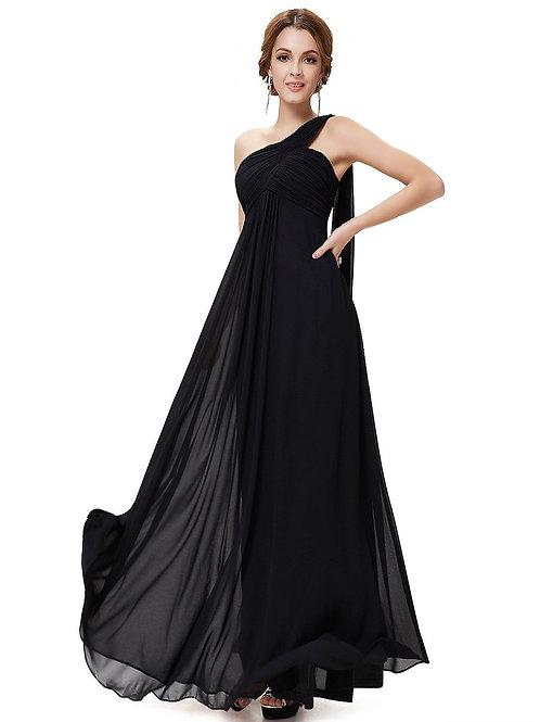 Čierne šaty na jedno rameno 9816 SKLADOM