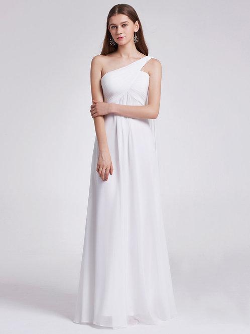 Biele šaty na jedno rameno 9816