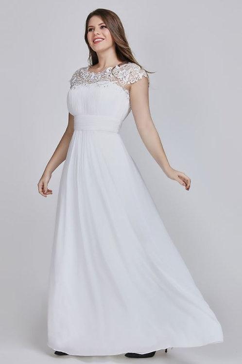 Biele spoločenské- svadobné šaty 9993