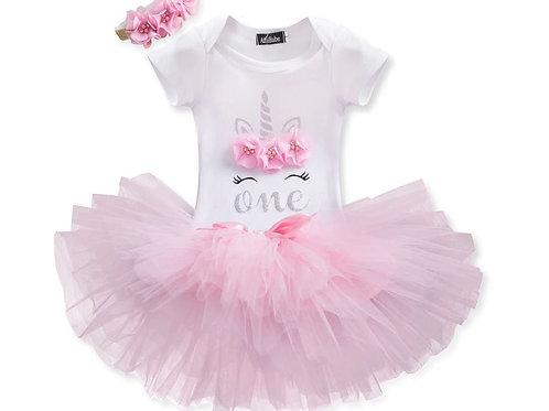 UNICORN Pink 1 Birthday SET s rohom EM