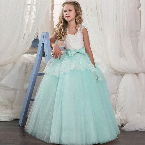 Mint krajkové dievčenské šaty s Mašľou