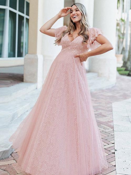 Ružove krajkové šaty 0857
