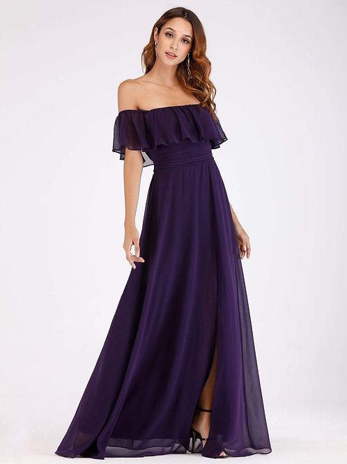 Fialové šaty s volánom 0968