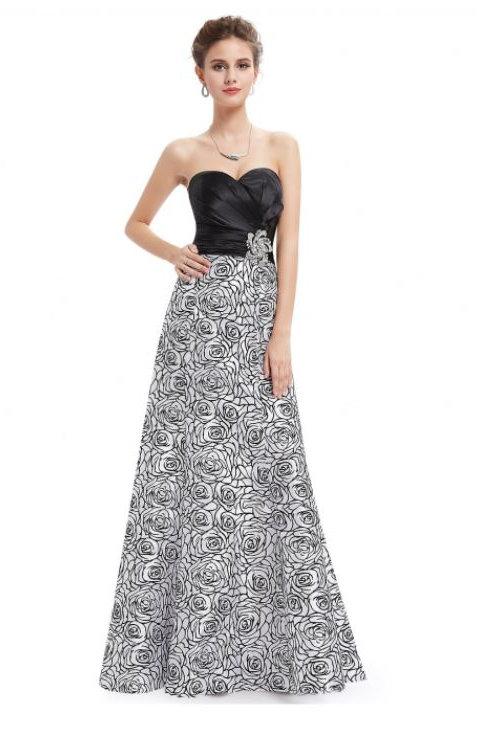 Bielo čierne spoločenské šaty 9727 SKLADOM