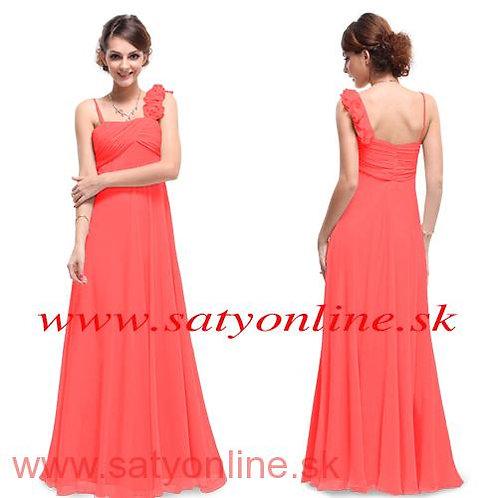 Lososove šaty na jedno rameno 9677 SKLADOM