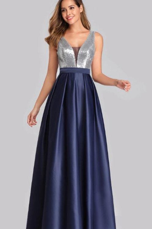 Tmavo modré spoločenské šaty 7638