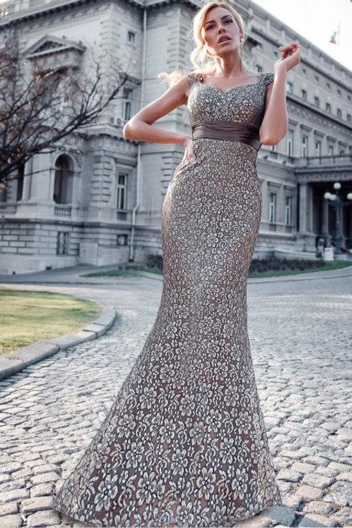 Hnedé krajkové šaty 8798