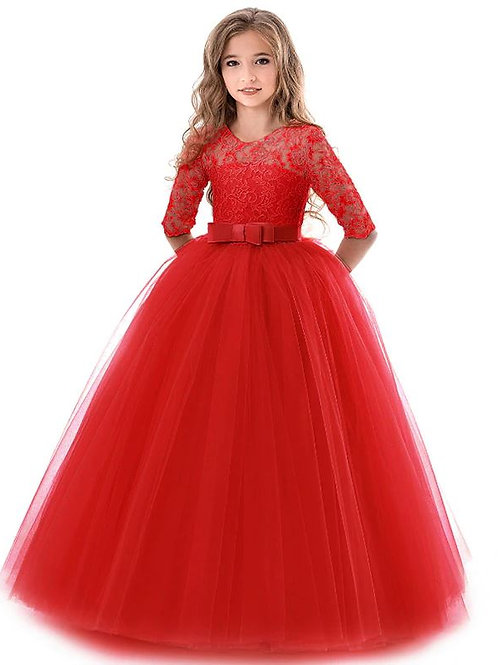 Červene krajkové dievčenské šaty s rukávom