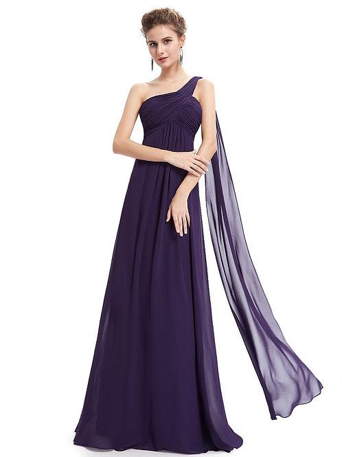 Fialové šaty na jedno rameno 9816 SKLADOM