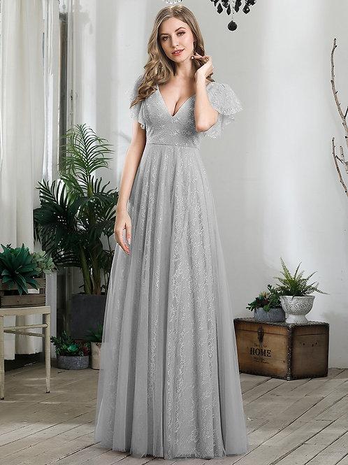 Sivé krajkové šaty 0857