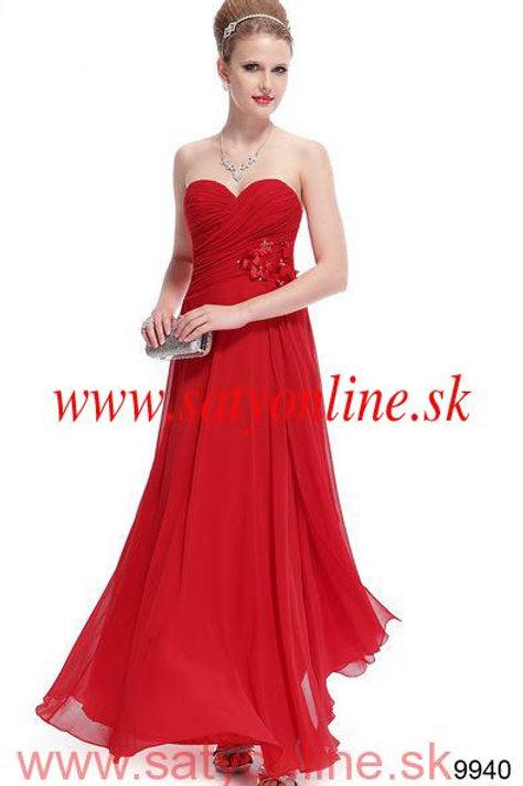 Červene spoločenské šaty 9940 SKLADOM