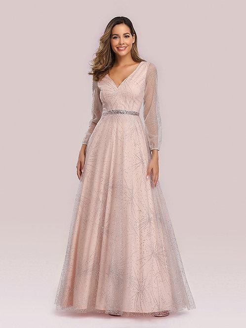 Ružové šaty s rukávom 0844