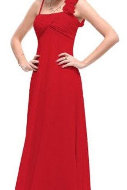 Červene šaty na jedno rameno 9766 SKLADOM