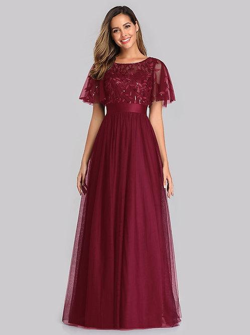 Bordové šaty s rukávom 0904