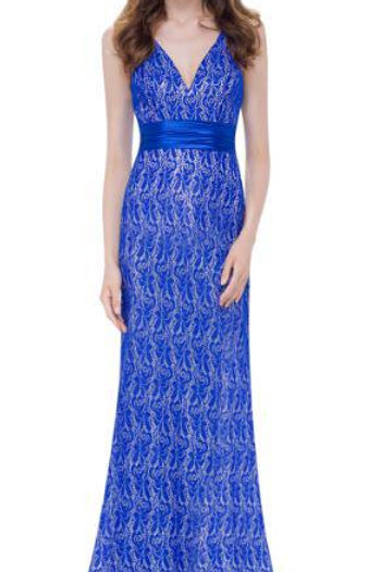 Modré krajkové šaty 8941 SKLADOM