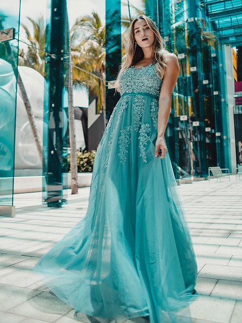 Dusty Blue krajkove šaty 7544