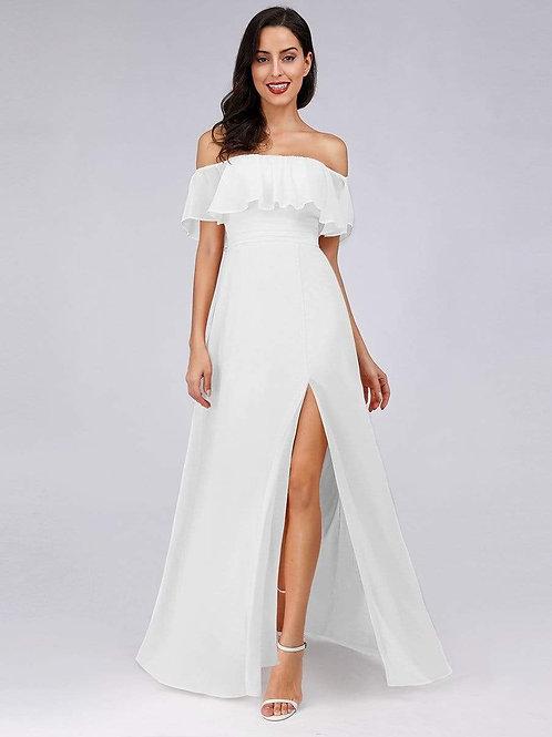 Biele svadobné -spoločenské šaty 0968