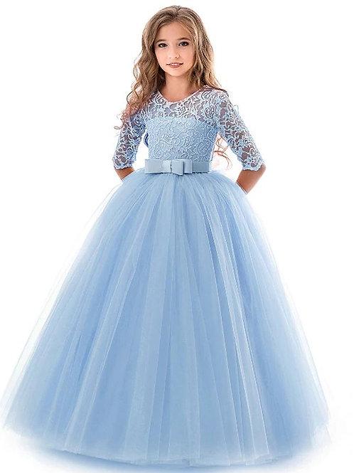 Modré krajkové dievčenské šaty s rukávom SKLADOM