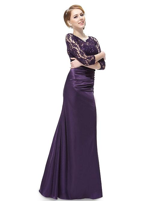 Fialové krajkové šaty s rukávom 9882 SKLADOM