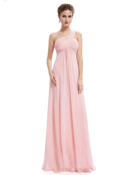 Ružové šaty na jedno rameno 9816 SKLADOM