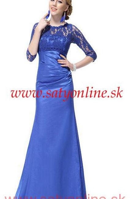 Modré krajkové šaty s rukávom 9882 SKLADOM