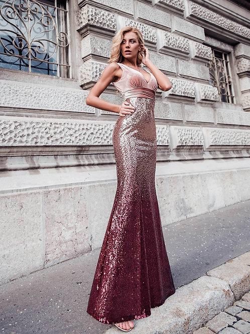 Ružovo bordové sexi šaty 7767