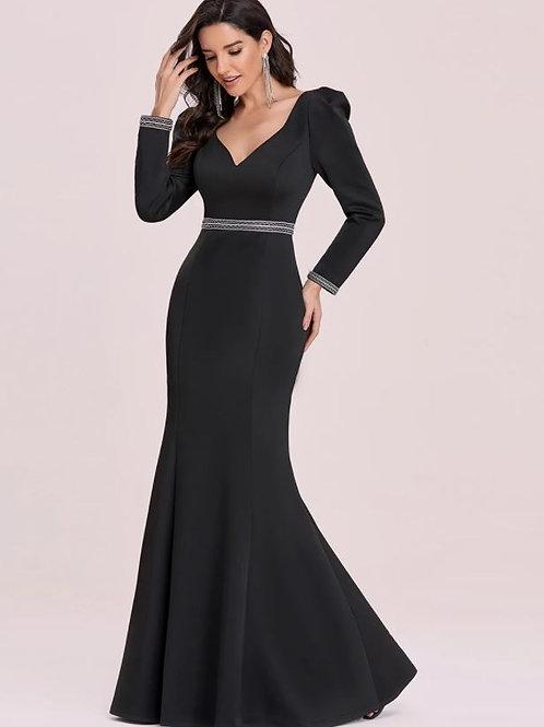 Čierne elegantné šaty s rukávom 0130