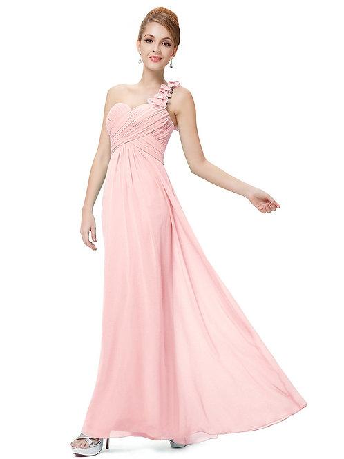 Ružové šaty na jedno rameno 9768 SKLADOM